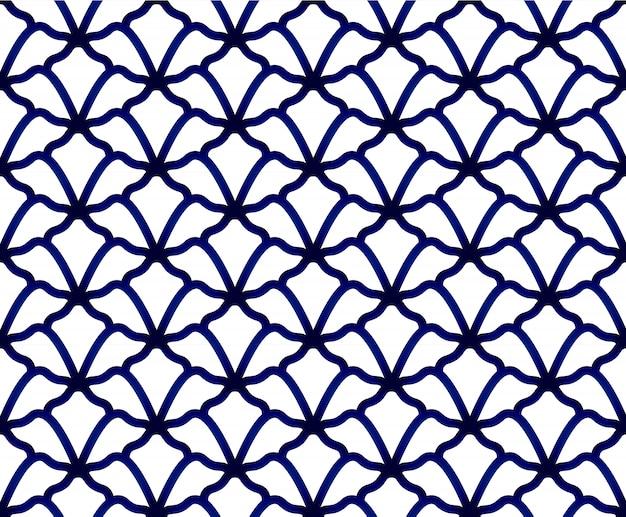 Bezszwowe porcelany indygo niebieski i biały prosty wystrój wektor, chiński niebieski, ceramiczny wzór
