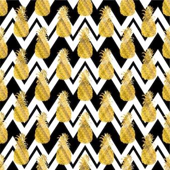 Bezszwowe powtarzalny wzór z ananasami w złocie.
