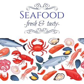Bezszwowe produkty z owoców morza na granicy
