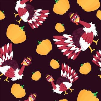 Bezszwowe ptaki indyka i papierowe dynie tło wzór.