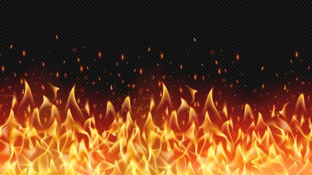 Bezszwowe realistyczne obramowanie ognia, ciepły design płomienia