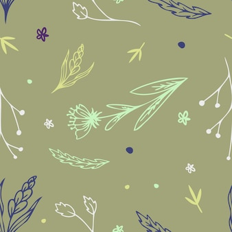Bezszwowe ręcznie rysowane jesienne kwiatki z pastelowym kolorem w wektorze