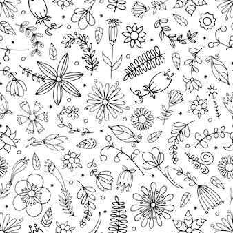 Bezszwowe ręcznie rysowane kwiatowy wzór.