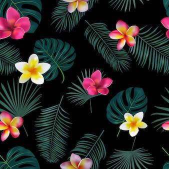 Bezszwowe ręcznie rysowane tropikalny wzór z kwiatów orchidei i egzotycznych liści palmowych na ciemnym tle.