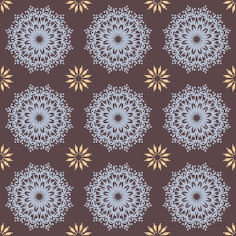 Bezszwowe ręcznie rysowane wzór mandali do drukowania na tkaninie lub papierze. vintage elementy dekoracyjne w stylu orientalnym. motywy islamskie, arabskie, indyjskie, tureckie, otomańskie.