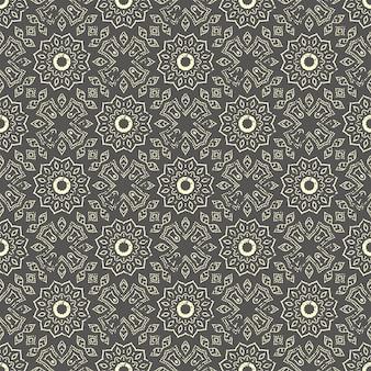 Bezszwowe ręcznie rysowane wzór mandali. vintage elementy w stylu orientalnym z efektem grunge.