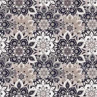 Bezszwowe ręcznie rysowane wzór mandali. vintage elementy w stylu orientalnym