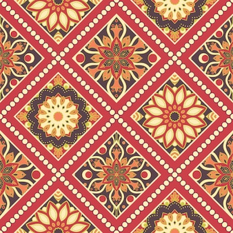 Bezszwowe ręcznie rysowane wzór mandali. vintage w stylu orientalnym.