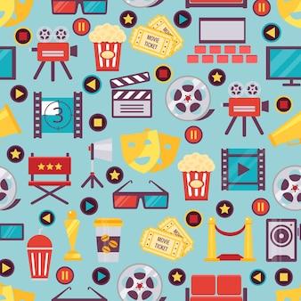 Bezszwowe różne grafiki filmowe i kinowe na jasnoniebieskim do projektowania tła