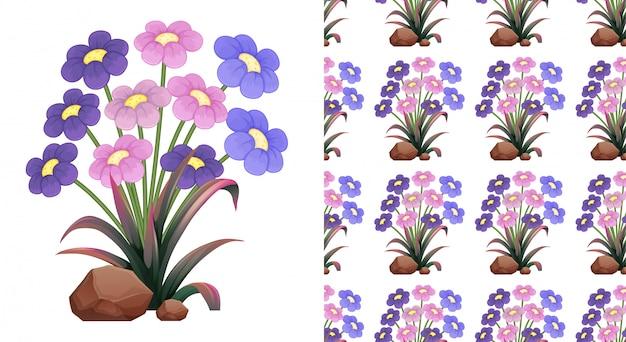 Bezszwowe różowe i fioletowe kwiaty