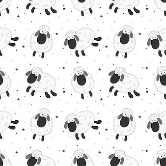 Bezszwowe słodkich snów owiec zabawny wzór zwierząt na tkaniny, tekstylia, papier, tapety, zawijanie