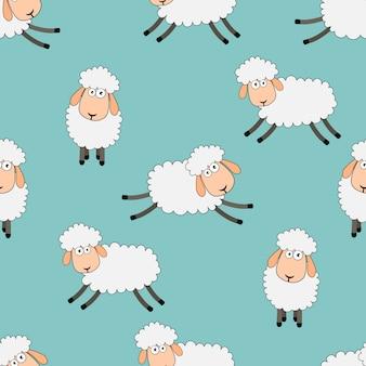Bezszwowe słodkich snów owiec zabawny wzór zwierząt