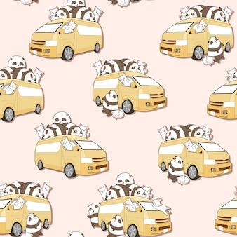Bezszwowe Słodkie Koty I Wzór Panda I Van. Premium Wektorów