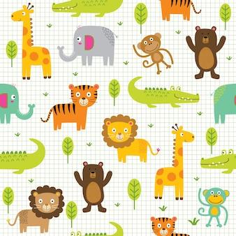 Bezszwowe słodkie postacie zwierząt w dżungli, zwierzęce zoo z kreskówek