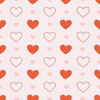 Bezszwowe słodkie serce na różowo