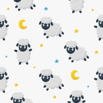 Bezszwowe słodkie sny owiec zabawny wzór zwierzę