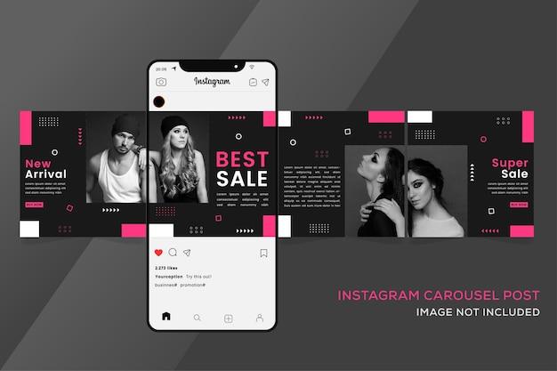 Bezszwowe szablony instagram karuzeli do sprzedaży mody