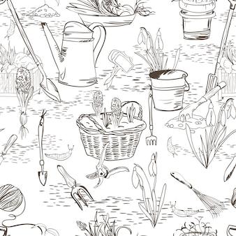 Bezszwowe szkic z narzędzi ogrodniczych