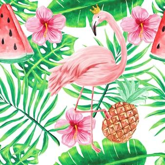 Bezszwowe tapeta wzór piękne tropikalne kwiaty akwarela lato