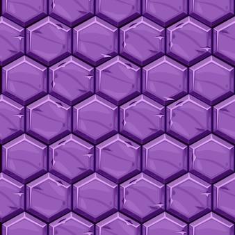 Bezszwowe teksturowane jasne fioletowe sześciokątne płytki kamienne. tło wzór kostki brukowej geometryczne płytki.