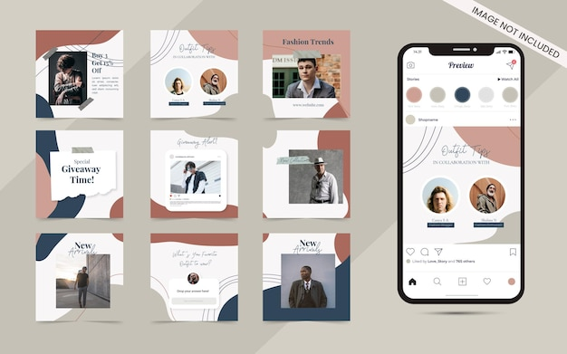 Bezszwowe tło abstrakcyjny kształt organiczny dla karuzeli w mediach społecznościowych zestaw postów na instagram mody sprzedaży banner promocji