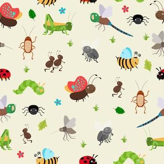 Bezszwowe tło błędów i chrząszczy, mrówka i gąsienica, konik polny.