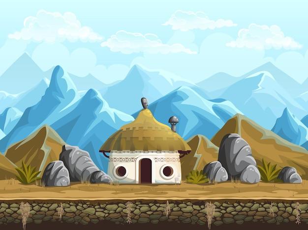 Bezszwowe tło chaty w górach