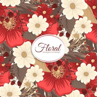 Bezszwowe tło czerwony kwiat