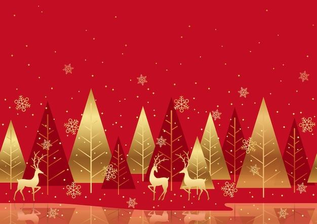 Bezszwowe tło czerwony zimowy las z reniferów i miejsca na tekst. powtarzalne w poziomie.