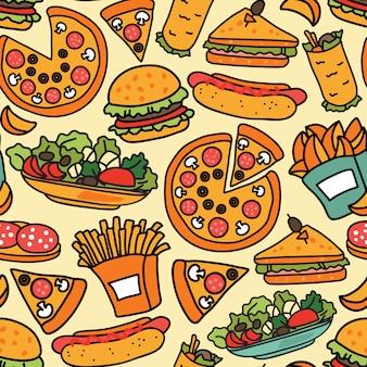 Bezszwowe tło fast food
