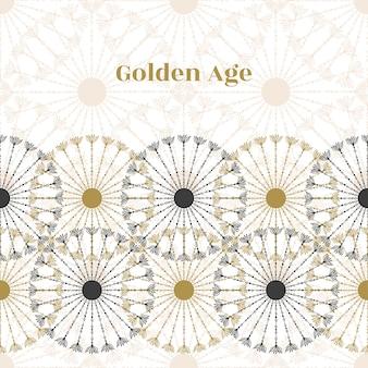 Bezszwowe tło granicy. wektorowa czarny i złocisty okrąg retro tekstura. tło złotego wieku.