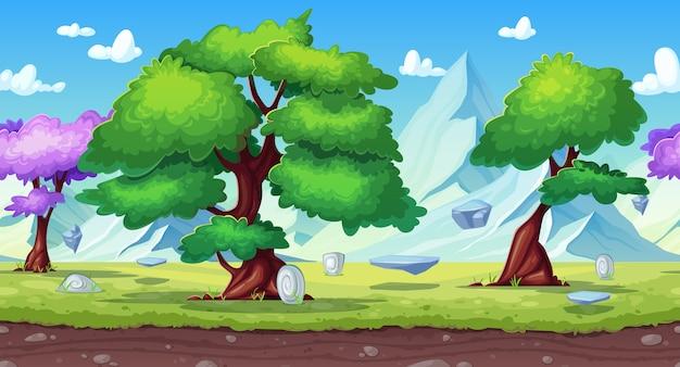 Bezszwowe tło gry z krajobrazem przyrody fantasy