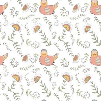 Bezszwowe tło kreskówka kurczak
