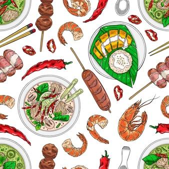 Bezszwowe tło kuchni tajskiej. tom kha, mango sticky rice, zielone krewetki curry i chili. ręcznie rysowane ilustracja