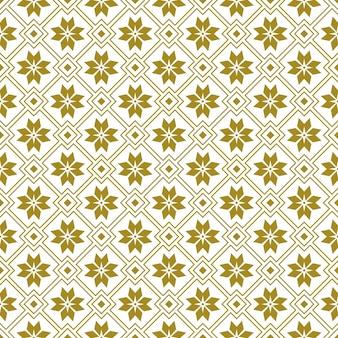 Bezszwowe tło, kwiatki złoty kwadrat geometrii.
