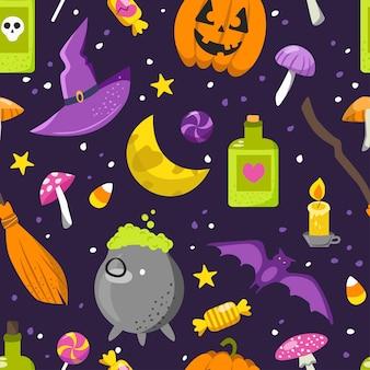 Bezszwowe tło na halloween. ilustracja w stylu kreskówki.