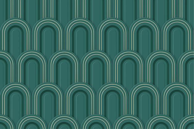 Bezszwowe tło nowoczesny luksus w stylu art deco. geometryczny wzór wektor 3d. element projektu złota rama wentylatora gatsby. nouveau retro złote tło. stylowa abstrakcyjna klasyczna tekstura gatsby