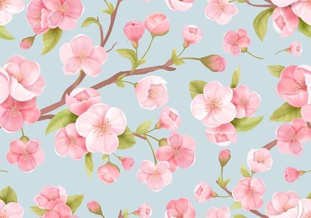 Bezszwowe tło różowy sakura kwiat lub wiśnia japońska kwitnienia. wiosenne kwiaty, wzór liści na tło weselne, tekstylia, tkaniny, egzotyczne tekstury