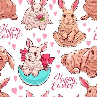 Bezszwowe tło słodkie kolorowe króliczki wielkanocne. ręcznie rysowana ilustracja