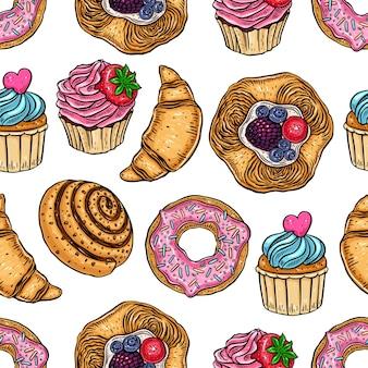 Bezszwowe tło słodkiej piekarni. ręcznie rysowana ilustracja