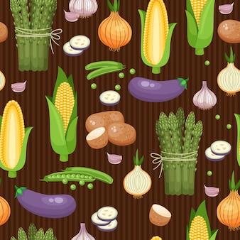 Bezszwowe tło szparagi, kukurydza i groszek na brązowe paski. ilustracji wektorowych