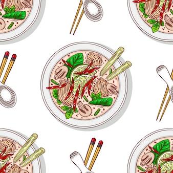 Bezszwowe tło tom kha. apetyczna tradycyjna tajska zupa z kurczakiem. ręcznie rysowana ilustracja