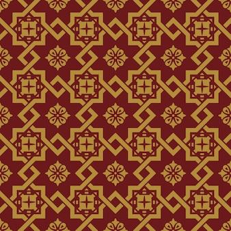 Bezszwowe tło, vintage chiński styl kwadratowy star krzyż krata wzór.