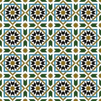 Bezszwowe tło, vintage krzyż kwadratowy wzór geometrii gwiazdy islamu.