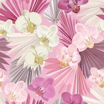 Bezszwowe tło wektor tropikalny storczyk. dżungla tropik suszone liście palmowe, wzór egzotycznych kwiatów. akwarela boho projekt na ślub, druk tekstylny, tekstura tapety, okładka, tło, dekoracja