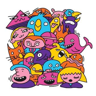 Bezszwowe tło wzór dziecko potwory znaków wektor ilustracja rysunki stylu cartoon