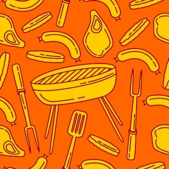 Bezszwowe tło wzór grilla