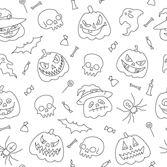 Bezszwowe tło wzór ilustracja wektorowarysunki konspektu elementy halloween party