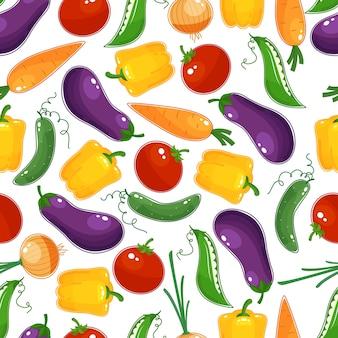 Bezszwowe tło wzór kolorowych świeżych warzyw