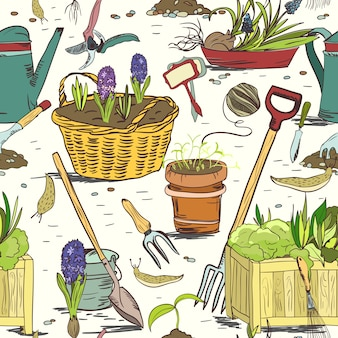 Bezszwowe tło wzór narzędzia ogrodnicze